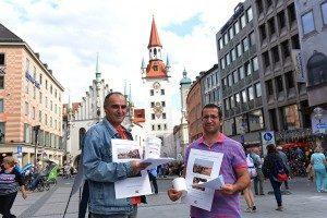 Spendenaktion auf dem Marienplatz für Flüchtlinge