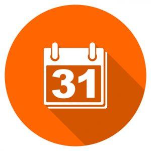 Orange flat design vector calendar icon