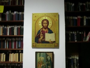 Christus-Ikone in der Tolstoi-Bibliothek