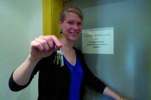 Umzug 2014: Friederike Junker mit Schlüssel